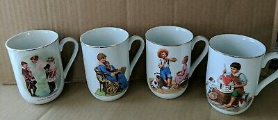 $ CDN25 • Buy Vintage Norman Rockwell 1986 Museum Collection Coffee Cups/Mugs Set Of 4