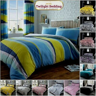 KING SIZE FLORAL BEDDING SET Printed Quilt Duvet Cover Pillow Case Easy Care • 11.99£