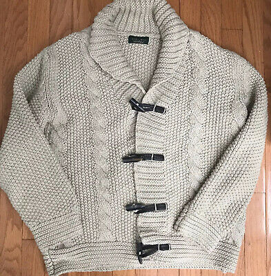 $45 • Buy Zara Men's Cardigan With Shawl Collar And Toggle Closure Size XL Cableknit Wool