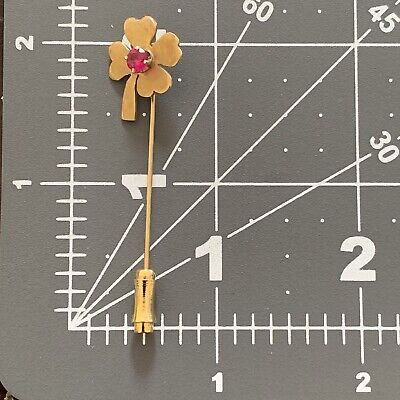 £2.90 • Buy Gold Colored Four Leaf Clover Hat Pin With Rose Colored Stone
