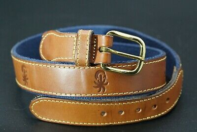 $12.50 • Buy Mens Leather Man Essex CT Palm Tree Fish Print Leather Brass Buckle Belt Size 32