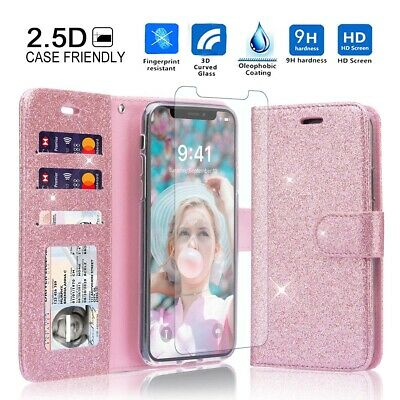 AU18.99 • Buy IPhone 7 8 Case Wallet, Bling Glitter PU Leather Magnetic Women Girls Flip Cover