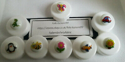 Picture Buttons White Novelty Round Shank 15mm,Children / Baby 8 Designs (NEW) • 2.35£