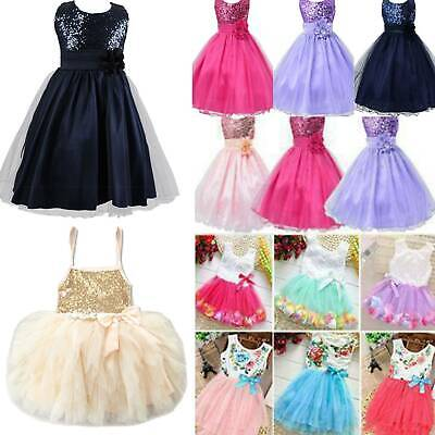 Kids Baby Flower Girls Party Sequins Dress Wedding Bridesmaid Princess Age 1-8Y • 6.79£
