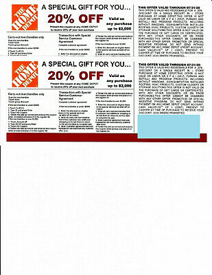 $7 • Buy  (2) 20% OFF HOME DEPOT Competitors Coupon To Use At Lowe's Exp 7/31/20
