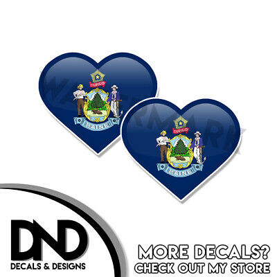 $2.98 • Buy Maine Flag Sticker State ME Heart Helmet Decal Beveled Hearts 2 Pk 3 Inch