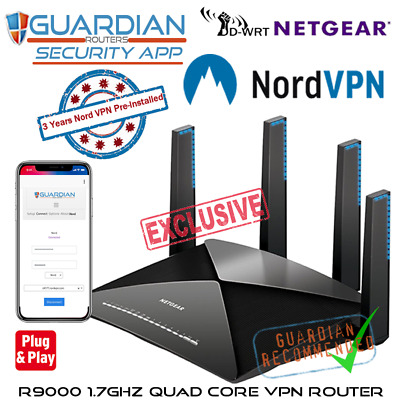 Netgear R9000 X10 DNSCyrpt VPN Router +3 Yrs Nord VPN +Guardian App Plug'n Play • 599£