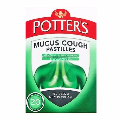 £5.99 • Buy Potters Mucus Cough Pastilles With Menthol And Eucalyptus Oil - 20