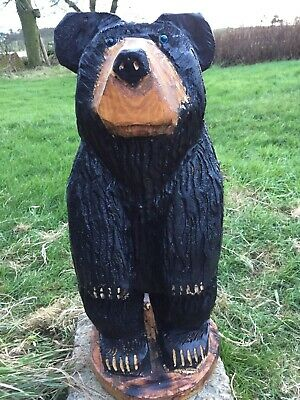 Chainsaw Carved Black Bear Carvings Garden Animal Bear Carving • 99.99£