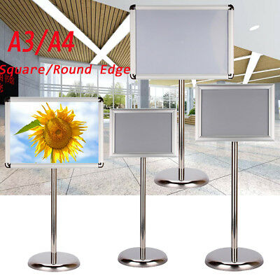 Adjustable Height Silver Floor Display Stand Sign Holder Snap Poster Frame A4 A3 • 79.64£