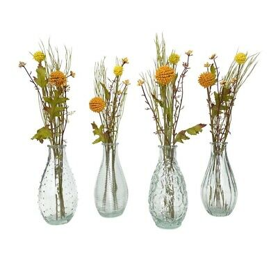 £9.99 • Buy Set Of 4 Small Clear Glass Bottles Vintage Style Ribbed Bud Vase Wedding Table