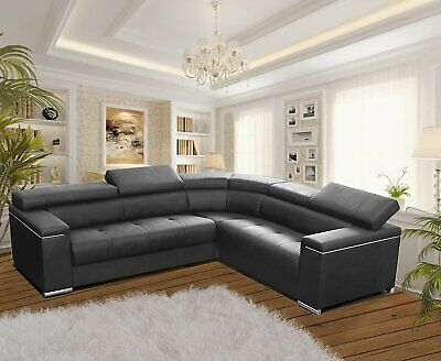 Modern Corner Sofa SILVA 1 GREY Faux Leather Storage Pull Out Bed LEFT Or RIGHT • 859£