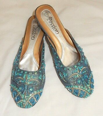 $17.99 • Buy Passion Blue Dressy Beaded Sequined Slip On Flats Shoes Women's 7 Medium