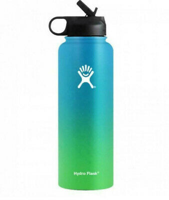 $12.50 • Buy Hot 40oz Hydro Flask Stainless Steel Insulation Wide Mouth Straw Blue+green