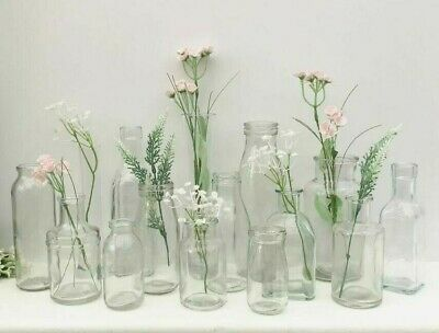 Vintage Style Clear Glass Bottle Small Bud Vase Home Wedding Decoration Assorted • 1.99£