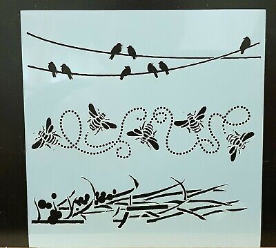 £2.49 • Buy Birds On A Wire, Bees & Grasses Mixed Media Stencil Mask  – BNIP - Free P&P