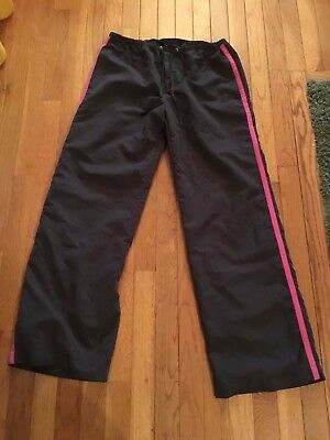 $5.45 • Buy Tek Gear Charcoal And Hot Pink Windbreaker Pants With Pockets, Womens Medium