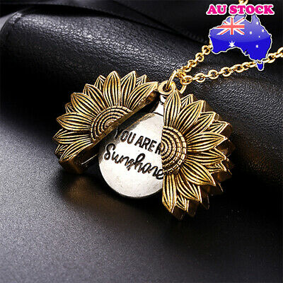 AU8.78 • Buy 18K Gold Plated You Are My Sunshine Sunflower Open Locket Pendant Necklace Gift