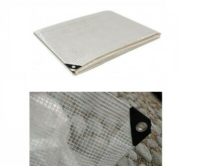£7.68 • Buy Clear Mesh Reinforced Tarpaulin Ground Transparent Sheet Many Sizes