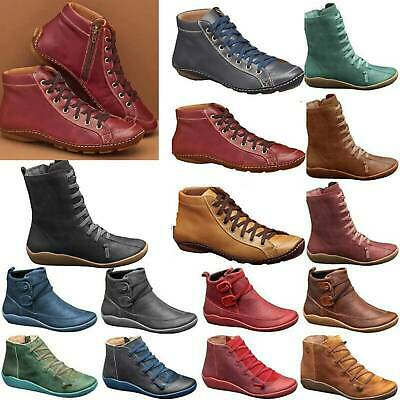 Ladies Winter Arch Support Ankle Boots Faux Leather Flat Lace Up Shoes Vintage • 15.69£