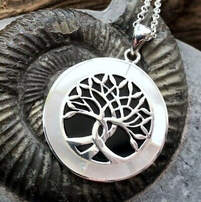 Sterling Silver Whitby Jet & Mother Of Pearl Tree Of Life Pendant  • 75£