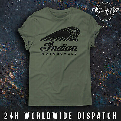Indian Motorcycle T Shirt Logo Motorbike Biker Cafe Racer Triumph Chopper Retro • 9.99£