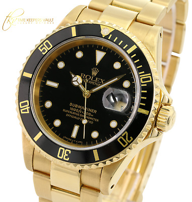 $ CDN31213.83 • Buy Authentic Rolex Watch Mens Oyster 40mm Submariner Date 16618 18K Gold Black Dial
