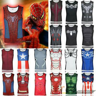 Mens 3D Marvel T-shirt Tank Top Gym Sports Running Super Hero Compression Vest • 10.06£