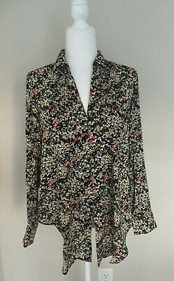$ CDN29.16 • Buy Anthropologie Maeve Women's Black Floral Button Down Long Sleeve Blouse Medium
