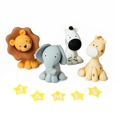 £12.99 • Buy Animals Cake Topper Edible Decoration Personalised Birthday Set Of 4 Figurs