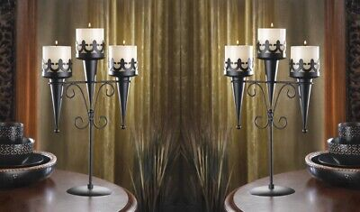 £28.74 • Buy 2 Triple Candle Candelabra Stands Medieval Gothic Style Centerpieces