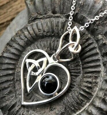 Sterling Silver & Whitby Jet Celtic Heart Pendant & Chain • 52£