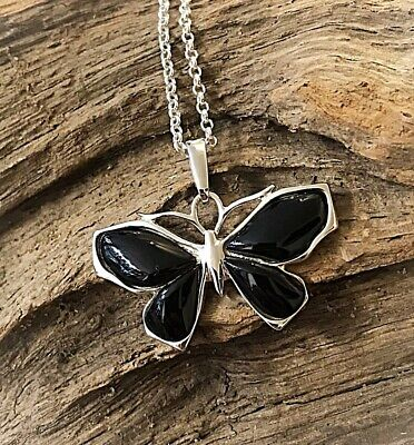 Hand Crafted Sterling Silver & Whitby Jet Butterfly Pendant  • 55£