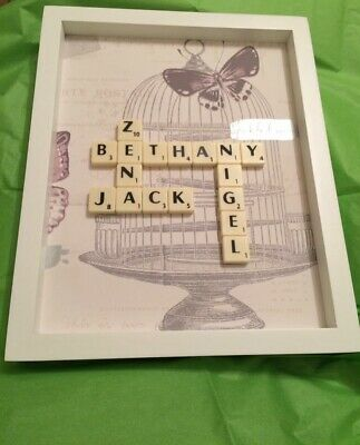 Mothers Day Personalised Family  Name Scrabble Picture • 15.99£
