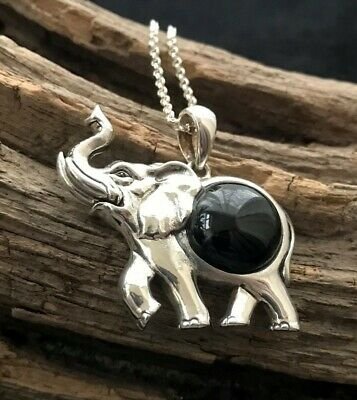 Large Sterling Silver & Whitby Jet Round Cabochon Elephant Pendant & Chain • 68£