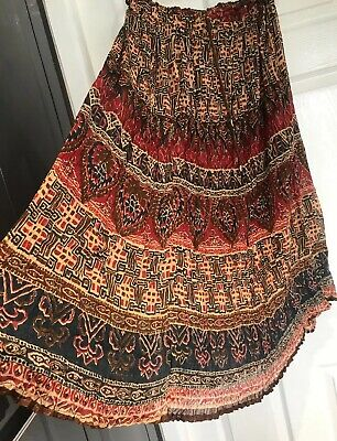 NEW LONG INDIAN COTTON SKIRT FREE SIZE BOHEMIAN  ETHNIC Hippy Boho DRAWSTRING • 5.99£