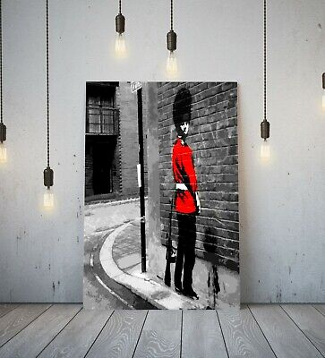 Banksy Queens Guard- Deep Framed Canvas Wall Art Picture Print Red Black • 11.99£