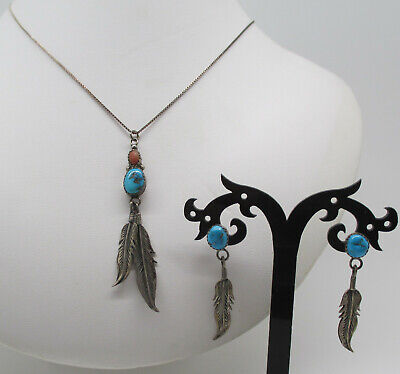 $ CDN13.15 • Buy Vintage Sterling Silver Turquoise Necklace & Matching Earrings Set ~ Estate Lot