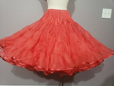$25 • Buy 575 Malco Modes Tricot Petticoat Crinoline Ruby Red 80 Yards Biggest Fullest Lg