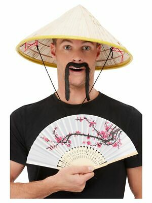 Mens Womens Oriental Chinese Vietnamese Kit Hat Fan & Tash Fancy Dress Party Fun • 10.18£