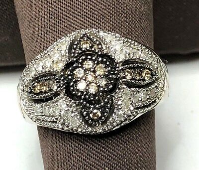 $425 • Buy 14k White Gold Diamond Pave Floral Cross Design Ring .50tcw Signed EL SZ 8.5