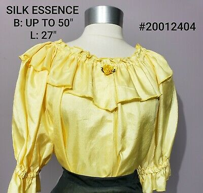 $8 • Buy Gorgeous Yellow Textured Silk Essence Square Dance Shirt Frilly Shimmery