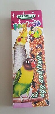 £3.55 • Buy 2x Flask Bird Food Parrot Egg + Fruit Seed Canary Parrot Stick Treats With Hook