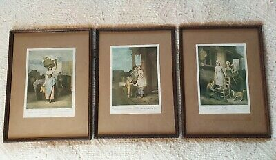3 X Vintage Prints CRIES OF LONDON Plates 8, 9 & 10 Embossed Wooden Frames • 34£