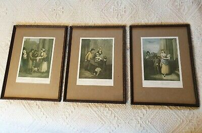 3 X Vintage Prints CRIES OF LONDON Plates 11, 12 & 13 Embossed Wooden Frames • 34£