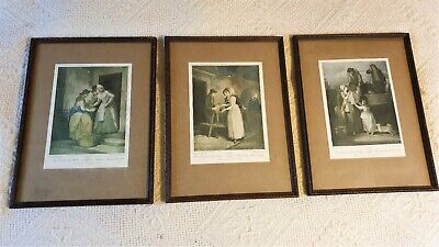 3 X Vintage Prints CRIES OF LONDON Plates 5, 6 & 7 Embossed Wooden Frames  • 34£
