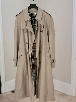 $350 • Buy Mens Burberry Khaki Trench Raincoat W/ Removeable Wool Lining Size 42 X-Long