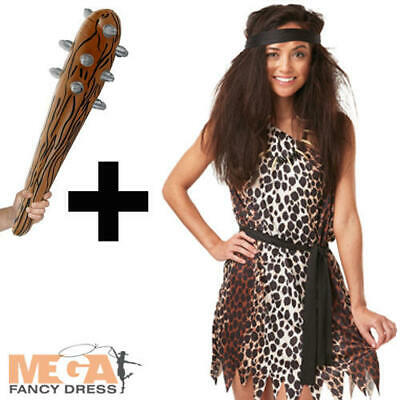 Cavewoman + Inflatable Club Ladies Fancy Dress Stone Age Cave Girl Adult Costume • 14.99£