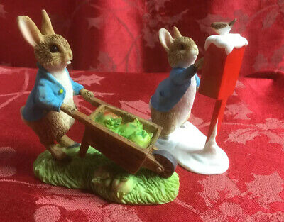 Beatrix Potter Peter Rabbit Enesco Figurine Wheel Barrow And Posting A Letter • 14£