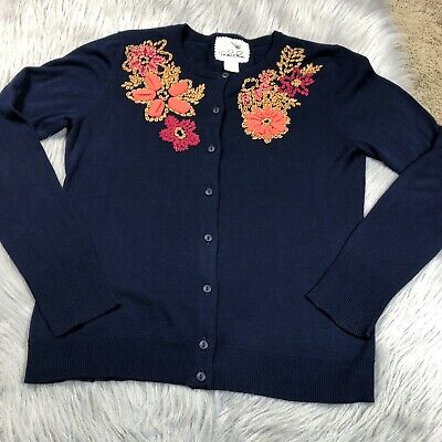 $ CDN47.72 • Buy Tabitha Anthropologie Navy Blue Floral Embroidered Cardigan Sweater Sz Large